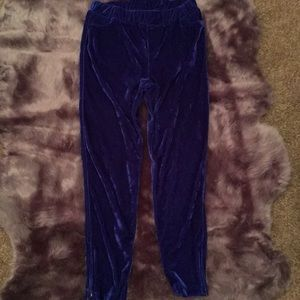 Bright Blue Crushed Velvet Lounge Pants 💙 90's
